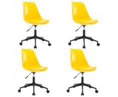 vidaXL Sillas de comedor giratorias 4 uds cuero sintético amarillo