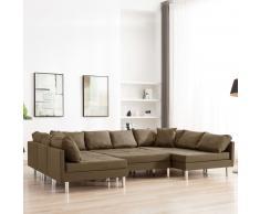 vidaXL Sofá modular de tela marrón