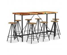 vidaXL Set de muebles de bar 9 piezas madera maciza reciclada
