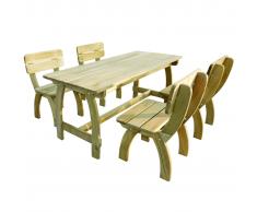 vidaXL Mesa y sillas de exterior 5 piezas madera pino impregnada
