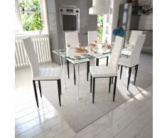vidaXL Juego de comedor 6 sillas delgadas con 1 mesa de vidrio