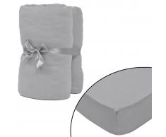 vidaXL Sábana ajustada 2 uds algodón 160 g/㎡ 90x190-100x200 cm gris
