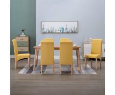 vidaXL Sillas de comedor de tela amarilla 6 unidades