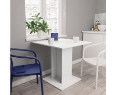 vidaXL Mesa de comedor de aglomerado blanco 80x80x75 cm
