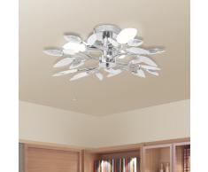 vidaXL Lámpara de techo con forma hojas, cristal acrílico blanco