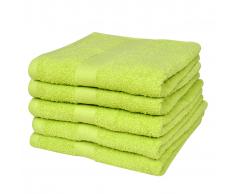 vidaXL 5 Toallas de baño algodón color verde manzana, 100 x 150 cm, 500 gsm