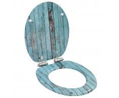 vidaXL Asiento WC tapa de cierre suave MDF diseño madera envejecida