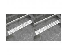 vidaXL Desagüe lineal ducha 2 uds curvas 830x140 mm acero inoxidable