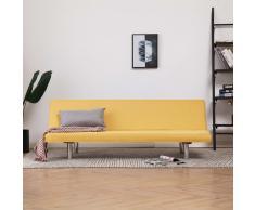 vidaXL Sofá cama de poliéster amarillo