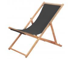 vidaXL Silla de playa plegable estructura de madera y tela gris