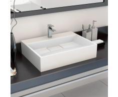 vidaXL Lavabo 50x38x13 cm resina mineral/mármol blanco