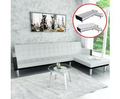 vidaXL Sofá cama en forma de L cuero sintético blanco