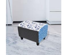 vidaXL Taburete Reposapiés Labor de retazos Otomano Flor Azul&Blanco