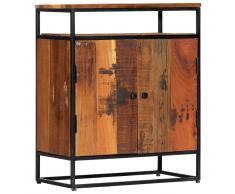 vidaXL Armario auxiliar de madera maciza reciclada y acero 60x35x76 cm