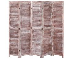 vidaXL Biombo de 5 paneles madera marrón 175x165 cm