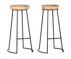vidaXL Taburetes de cocina 2 unidades madera maciza de acacia
