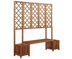vidaXL Jardinera de jardín con banco y enrejado madera acacia maciza