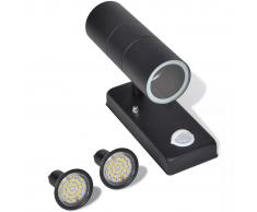 vidaXL Aplique de pared con sensor y LED, acero inoxidable, negro