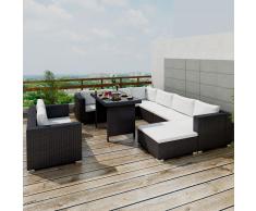 vidaXL Conjunto de muebles exterior 28 piezas negro poli ratán