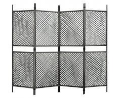 vidaXL Biombo de 4 paneles ratán sintético gris antracita 240x200 cm