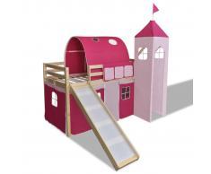 vidaXL Cama alta en forma de castillo de princesa color rosa