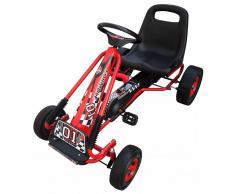 vidaXL Coche de pedales Go-Kart rojo - Silla ajustable horizontal