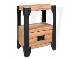 vidaXL Mesita de noche de madera maciza acacia y acero 40x30x54 cm