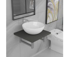 vidaXL Conjunto de muebles de baño 2 piezas cerámica gris