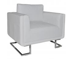 vidaXL Sillón forma de cubo con patas cromadas cuero artificial blanco