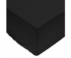 vidaXL Sábana bajera 90x220 cm algodón negra 2 unidades