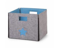 CHILDWOOD Caja de almacenaje plegable estrella gris turquesa CCFSBST