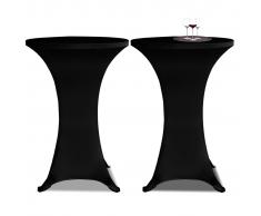 vidaXL 2 Manteles negros ajustados para mesa de pie - 70 cm diámetro