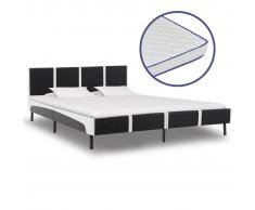 vidaXL Cama con colchón viscoelástico cuero sintético 160x200 cm