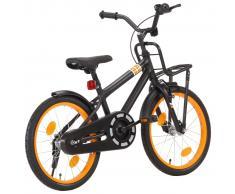 """vidaXL Bicicleta niños y portaequipajes delantero 18"""" negro y naranja"""