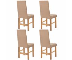 vidaXL Funda elástica para silla de franja ancha beige 4 unidades