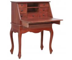 vidaXL Escritorio secreter madera maciza de caoba marrón 78x42x103 cm