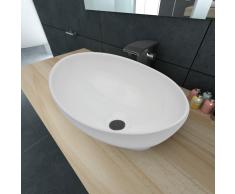 vidaXL Lavabo lujoso de cerámica ovalado blanco 40 x 33 Cm