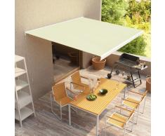 vidaXL Toldo de carrete manual color crema 350x250 cm