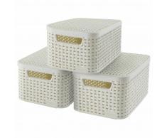 Curver Cajas de almacenaje con tapa Style 3 uds S blanco 33617-885-00