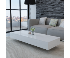 vidaXL Mesa de centro rectangular de fibra de vidrio blanco brillante