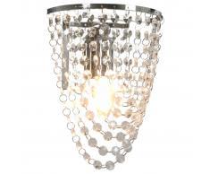 vidaXL Lámpara de pared con cuentas cristal plateado ovalada E14
