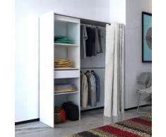 vidaXL Armario ropero con cortina ajustable en anchura 121-168cm blanco