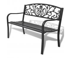 vidaXL Banco de jardín de hierro fundido negro 127 cm