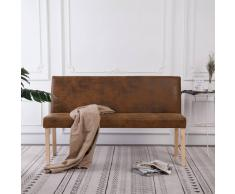 vidaXL Banco de piel de ante artificial 139,5 cm marrón