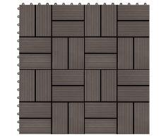 vidaXL Baldosas de porche WPC 30x30 cm 2 m² marrón oscuro 22 unidades
