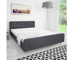 vidaXL Estructura de cama 140x200 cm tapizado trla gris oscuro