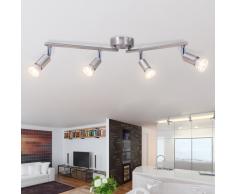 vidaXL Lámpara de techo con 4 focos LED níquel satinado