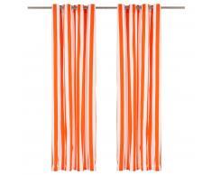 vidaXL Cortinas y aros de metal 2 pzas tela naranja a rayas 140x225 cm