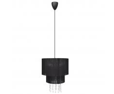 vidaXL Lámpara de techo colgante negra con cristales