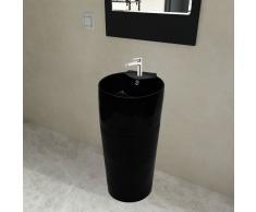 vidaXL Lavabo redondo de cerámica con orificio de grifo/desagüe negr